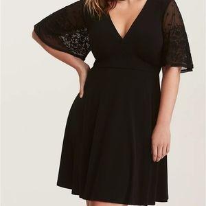 Torrid Black Lace Sleeve Jersey Knit Skater Dress